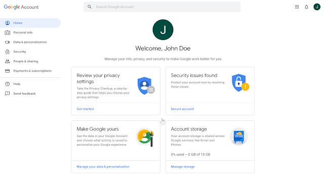 صفحة لوحة تحكم حساب Google