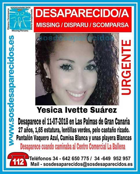 Cartel anunciador de la desaparición de la mujer de Las Palmas de Gran Canaria Yesica Ivette Suárez