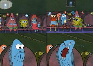 Polosan meme spongebob dan patrick 15 - ikan biru di theater drama dengan wajah aneh