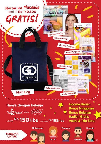 Harga Baru Paket Member Tulipware 2019, Paket Merdeka, Kitbag, Starter Kit