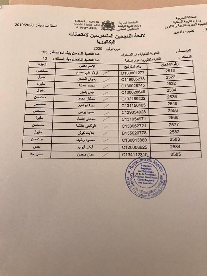 نتائج البكالوريا 2020 أكاديمية جهة كلميم واد نون