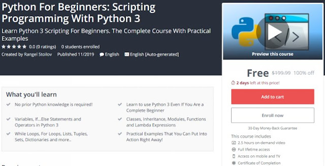 [100% Off] Python For Beginners: Scripting Programming With Python 3| Worth 199,99$