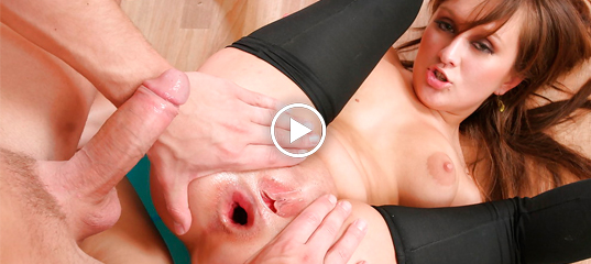 Hot brunette's cunt fucked through hole in fishnet pantyhose