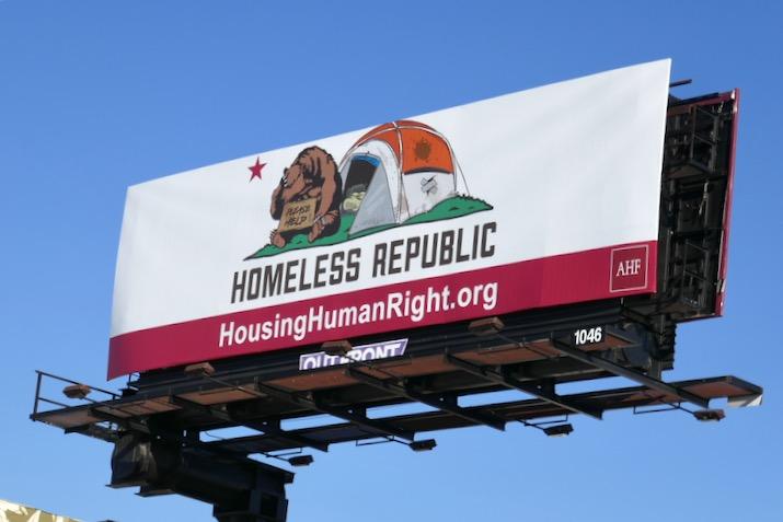 Homeless Republic California flag spoof billboard