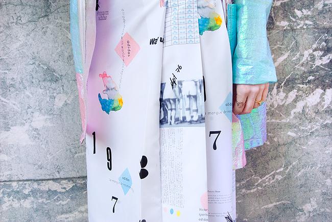 Adidas skirt, poster print skirt, street style