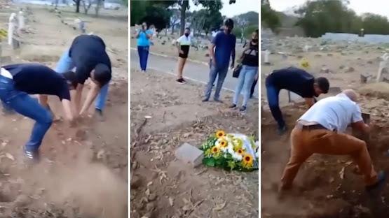 Coveiros vão embora e família é obrigada a enterrar corpo de parente