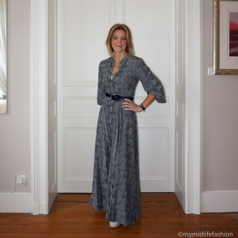 my midlife fashion, Somerset by Alice temperley leopard print maxi dress, golden goose superstar low top leather trainers