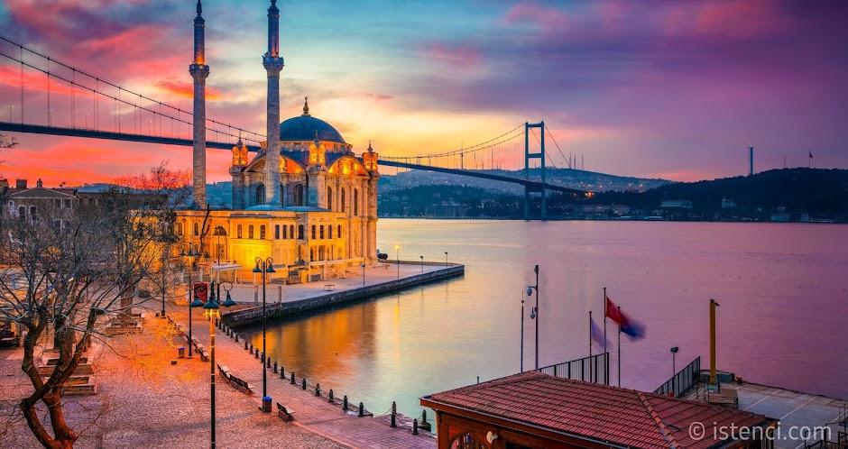 İstanbul'da gezilecek yerler ve İstanbul hakkında bilgiler. | İstanbul Ortaköy Camii ve Boğaz Köprüsü - Beşiktaş, İstanbul