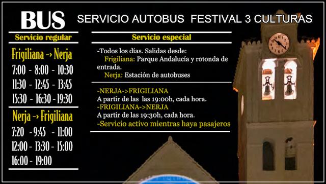 Nicosol, SL - Horarios especiales del autobús Frigiliana-Nerja-Frigiliana durante el Festival Friliana 3 culturas