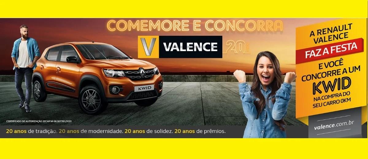 Promoção Valence 20 Anos Aniversário 2020 Concorra Renault Kwid