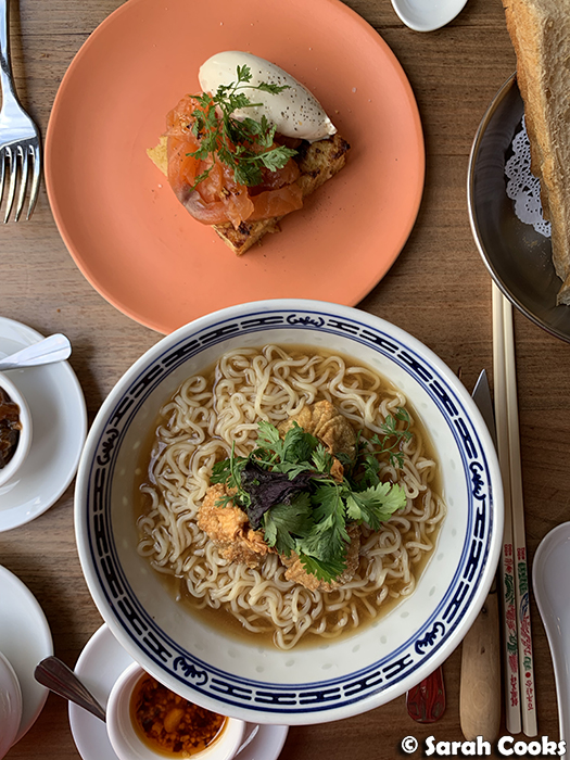 Salmon brioche and Wonton noodle soup
