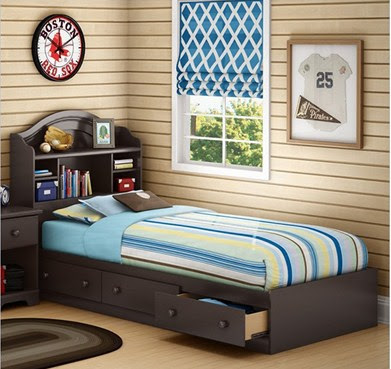 Summer Breeze Twin Mates Storage Bed in Chocolate Finish