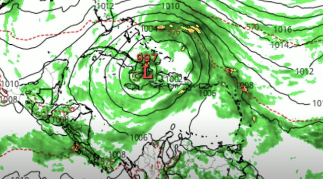 Otro disturbio avanza en zurdo (de abajo hacia arriba) y penetraría en la República Dominicana, sale al norte y avanzaría a la isla de Cuba, por el este.