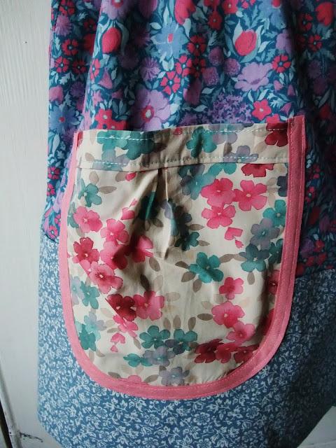 pocket detail of Dottie Angel frock in vintage Laura Ashley textiles by Karen Vallerius