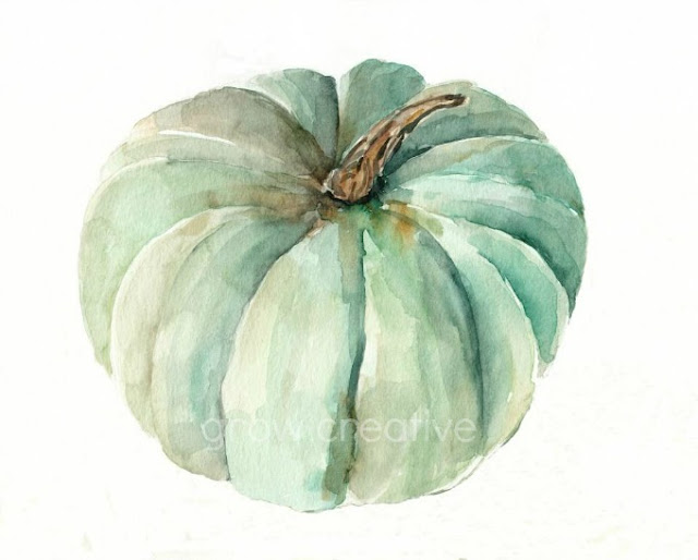 Mint Green Fall Pumpkin Painting by Elise Engh