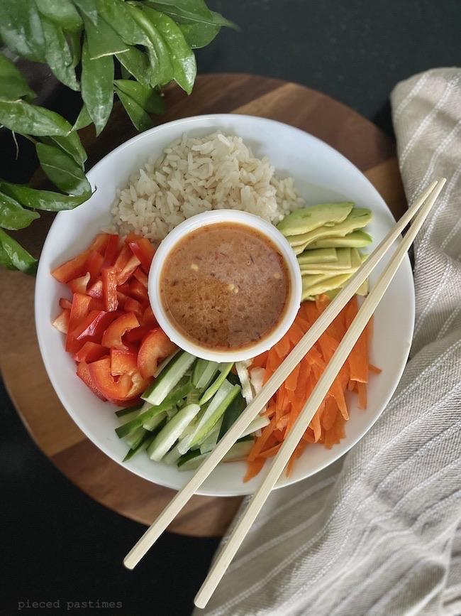 Vegan Sushi Bowl at Pieced Pastimes