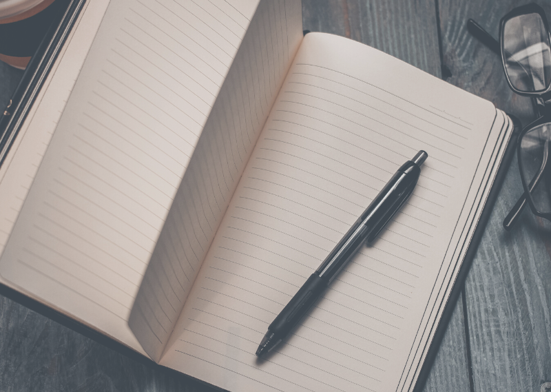 A journal in a post about how to start journaling and make it a habit