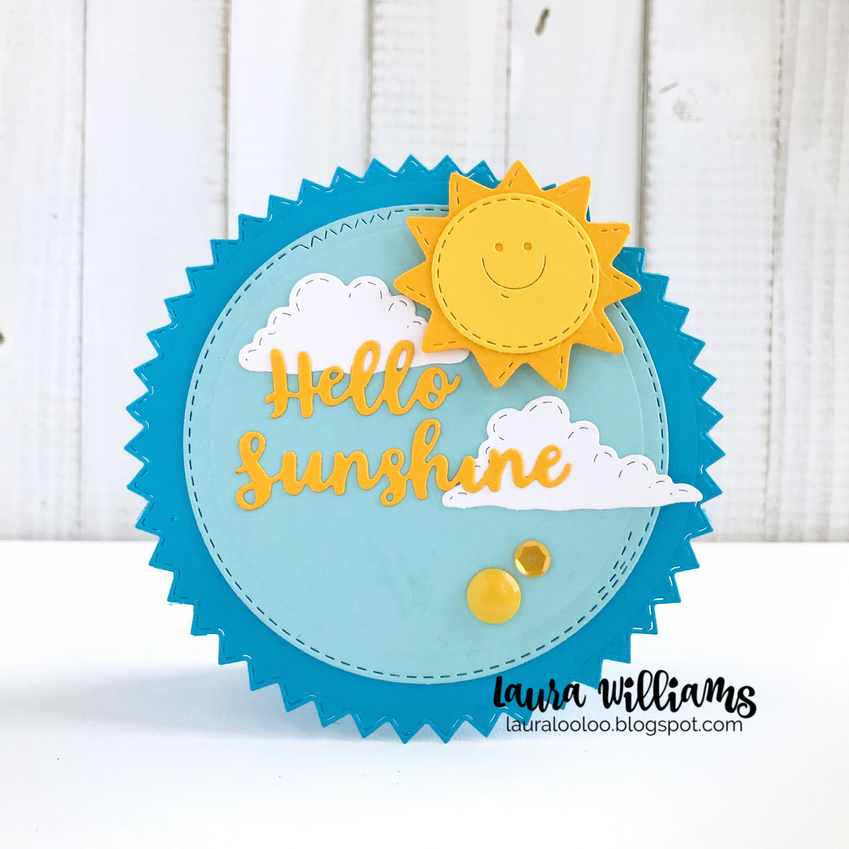 Make a Circle Shaped card with the Sunny Face and Stitched Clouds dies from Impression Obsession. Find this and other sunshine die cutting ideas on my blog! #cardmaking #diecutting #iostamps