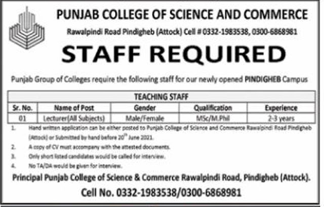 Punjab College of Science and Commerce Attock Jobs 2021