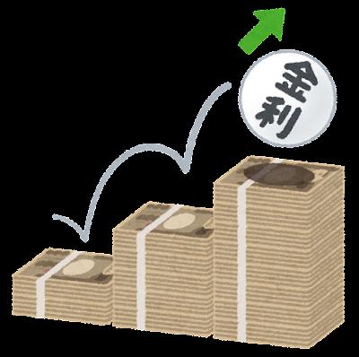 上がる金利のイラスト(円)