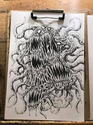 Azathoth Creature Ink Drawing