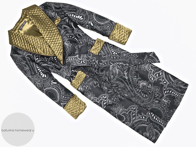 mens black gold paisley robe warm lined extra long quilted silk dressing gown smoking jacket victorian gentleman dandy traditional old fashioned housecoat