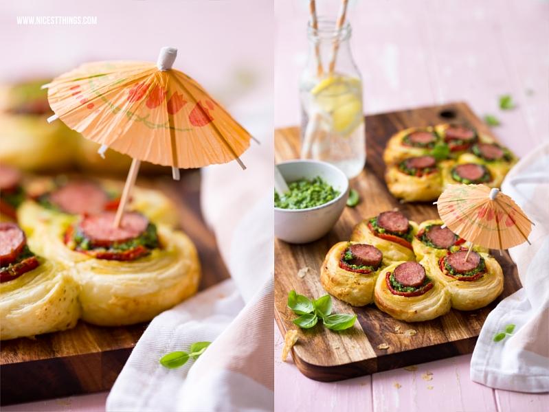 Party Food Blume aus Wurst im Blätterteig