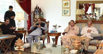 چوہدری شجاعت حسین اور مونس الہی کاجاتی امرہ میں میاں نواز شریف سے اظہار افسوس