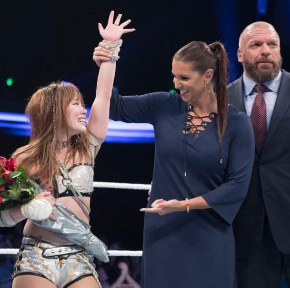 Paul Levesque, Stephanie McMahon, and Kairi Hôjô in WWE