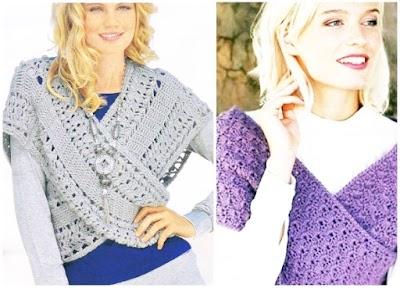 Chalecos cruzados tejidos a crochet