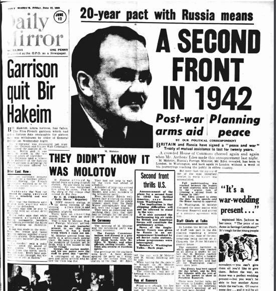 Screen grab of Daily Mirror on Friday 12 June, 1942