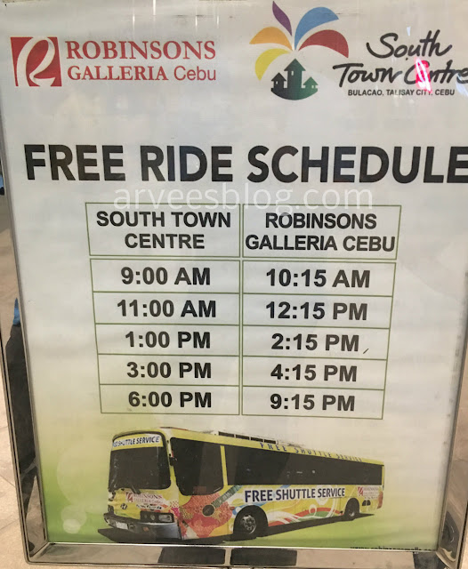 Robinsons Galleria Cebu to South Town Centre Schedules