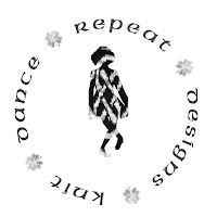 "Black & white: The words ""Knit Dance Repeat Designs"" ring around the silhouette of an Irishdancer that is filled in with a part of a knitted piece."