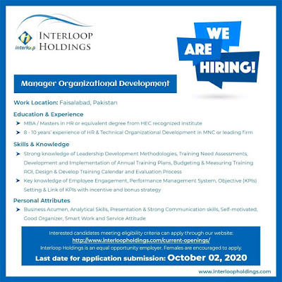 Interloop Holding Jobs 2020 Manager Organizational Development Latest
