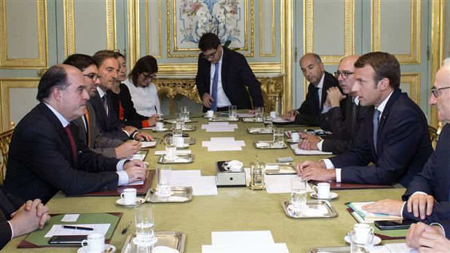 French President Emmanuel Macron meets Venezuela opposition leaders