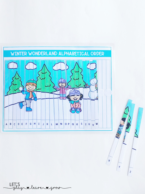 Put together a fun winter wonderland scene with this alphabetical order puzzle