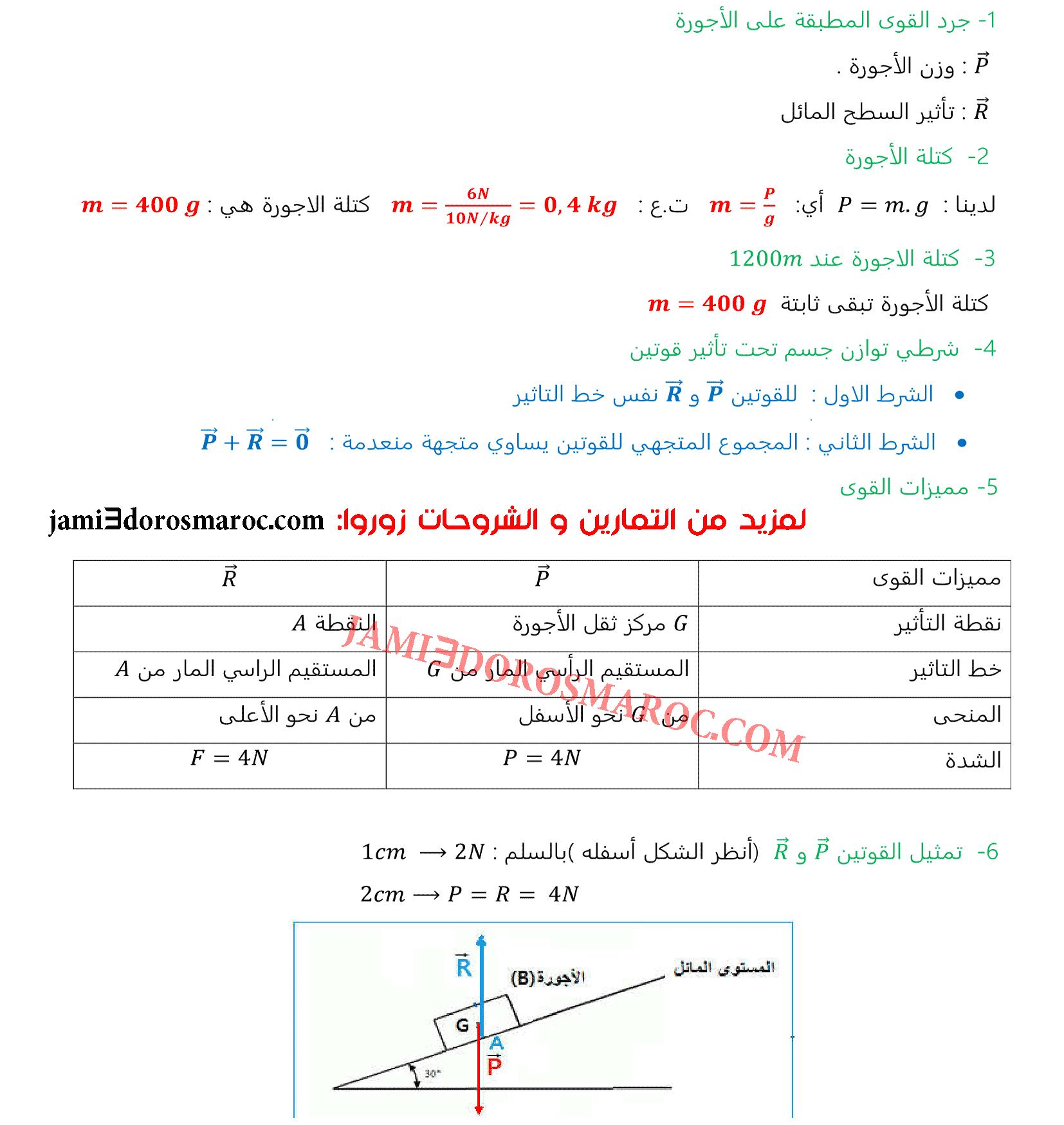 سلسلة تمارين درس الوزن والكتلة