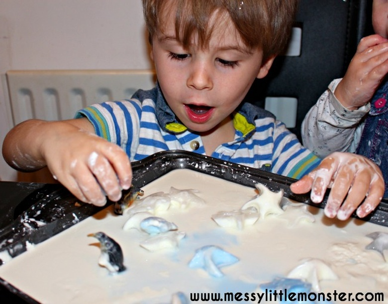 frozen oobleck sensory play snow activities for kids