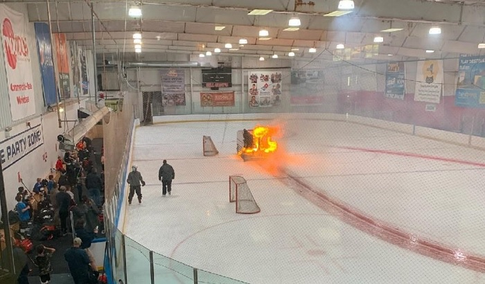 zamboni fire hockey
