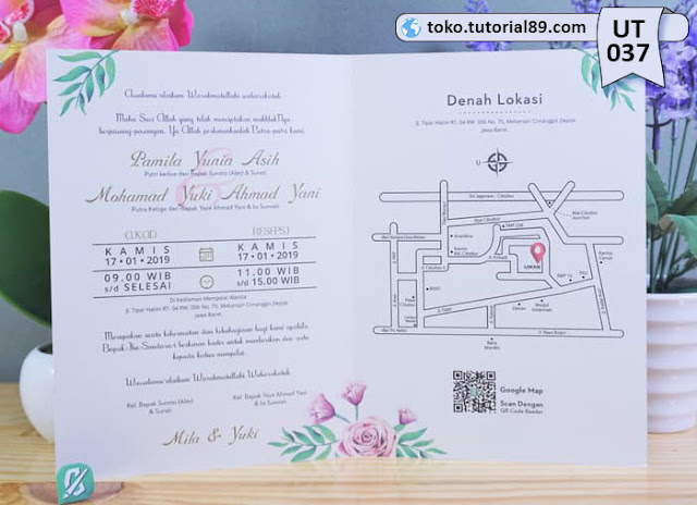 Undangan pernikahan UT037 - Seimpel Lipat 2 +free kartu ucapan terima kasih