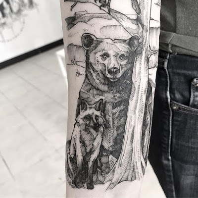 bear and fox tattoo