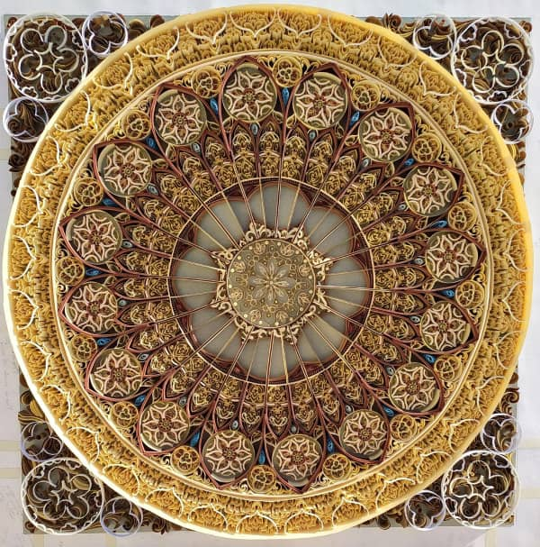 large-scale, intricate quilled mandala