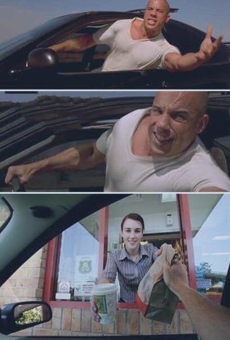 Fast Food bestellen am Drive-In Schalter witzig
