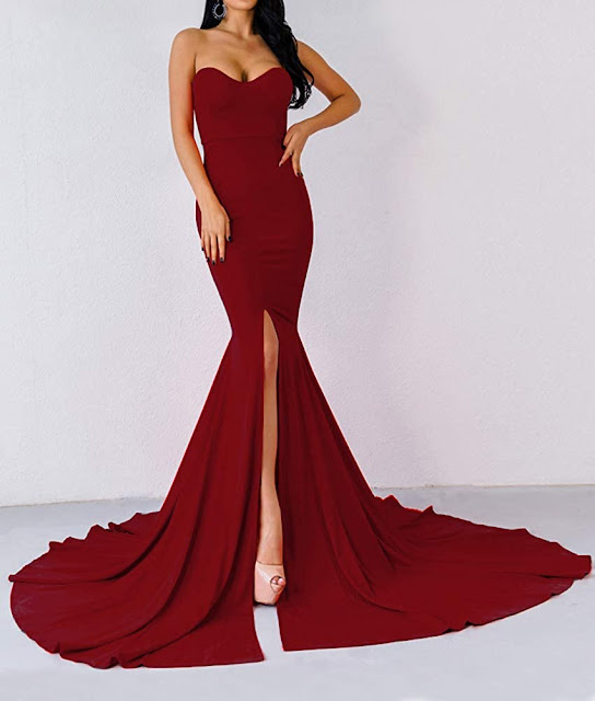 Red Strapless Maxi Dresses for Weddings