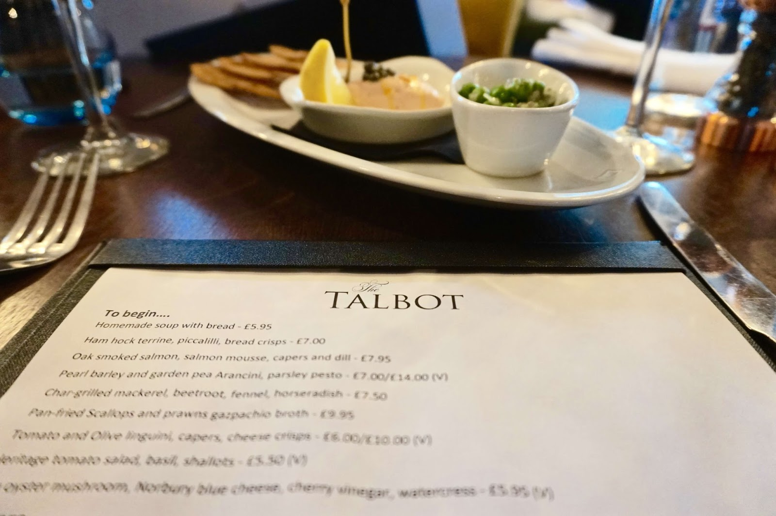 the talbot dinner menu