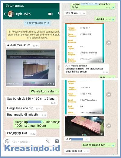 Pemabatas Shaf Sholat Stainless pesanan Masjid Alhijrah Jatiasih Bekasi