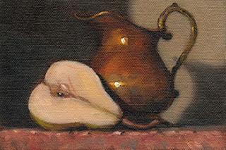 Still life oil painting of a halved pear beside a copper jug.