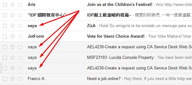 Menerima atau mendapatkan email dari saya