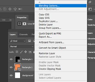 Atur blending options pada layer