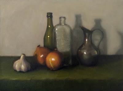 Still life oil painting of two onions, a garlic bulb, two antique bottles and a pewter jug.